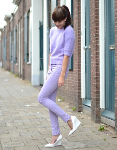 pink mohair sweater light blue skinny jeans
