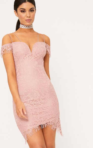 pink off the shoulder deep v neck lace dress