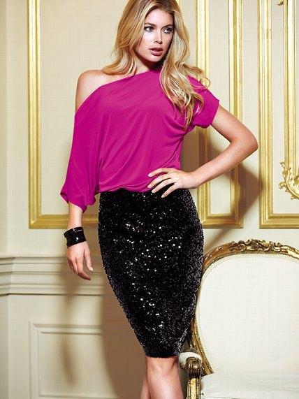 pink one shoulder dolman sleeve top black sequin skirt