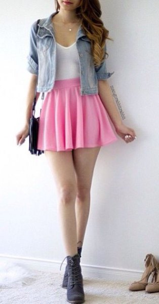 pink pleated tennis skirt short denim jacket