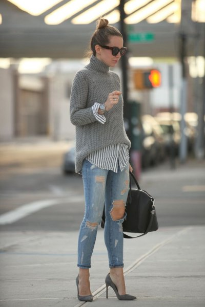 pink pointed toe heels grey turtleneck knit sweater