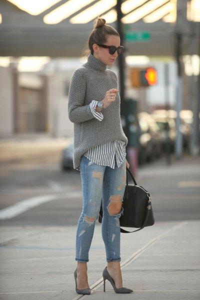 pink pointed toe heels grey turtleneck knit sweater