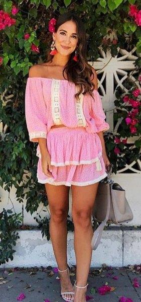 pink ruffle mini skirt off shoulder top
