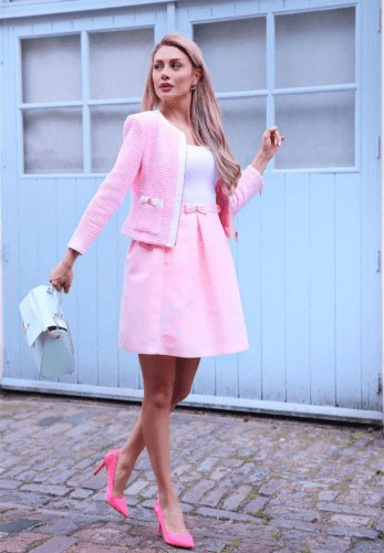 pink wool jacket outfit