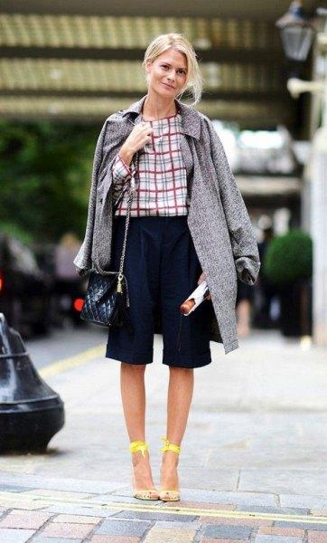 plaid blouse long tweed coat