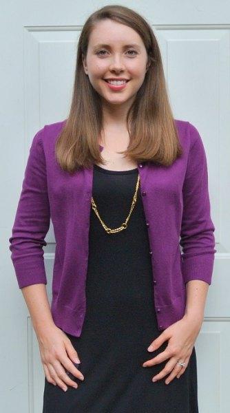 purple cardigan black shift dress
