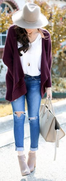 purple chunky cardigan cuffed ripped skinny jeans