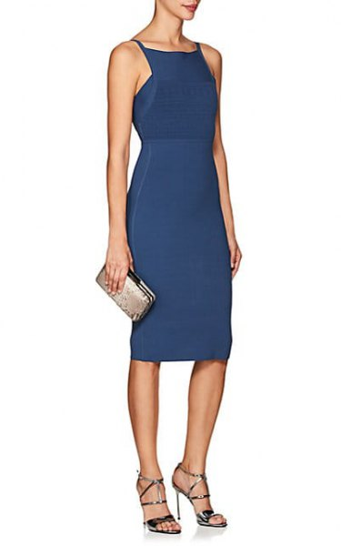 purple gathered waist midi sheath dress