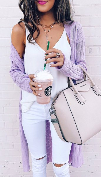 purple ribbed long cardigan white top jeans