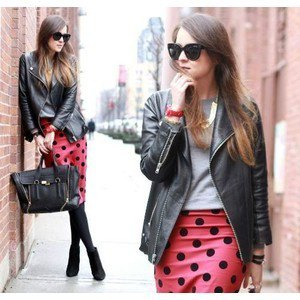red and black polka dot pencil skirt leather jacket