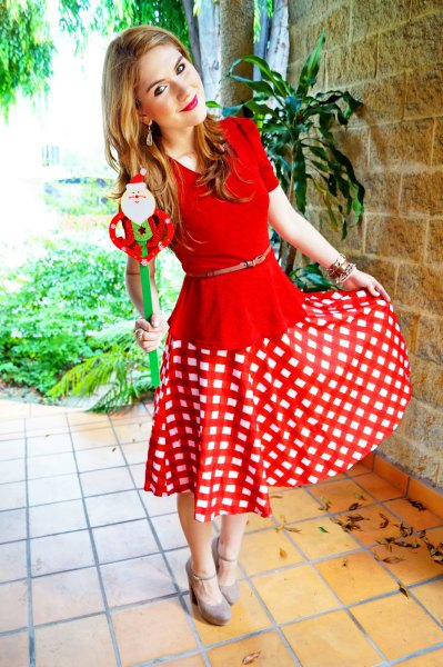 red belted peplum top flare midi skirt