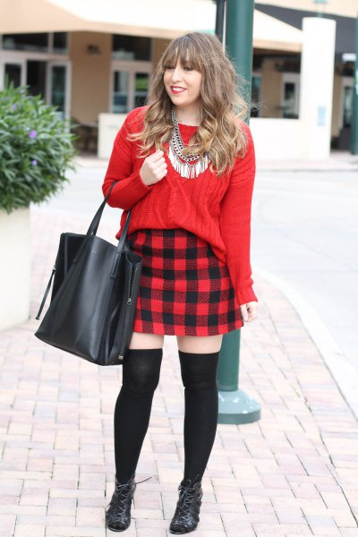 red cable knit sweater plaid flannel mini skirt