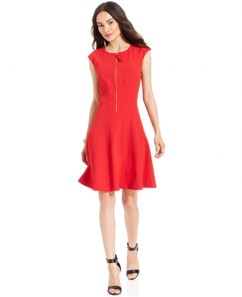 red cap sleeve zip front skater dress