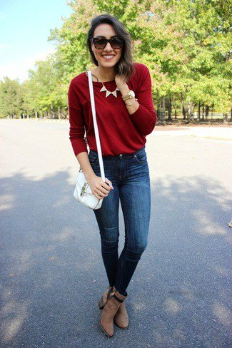 red crew neck sweater statement necklace