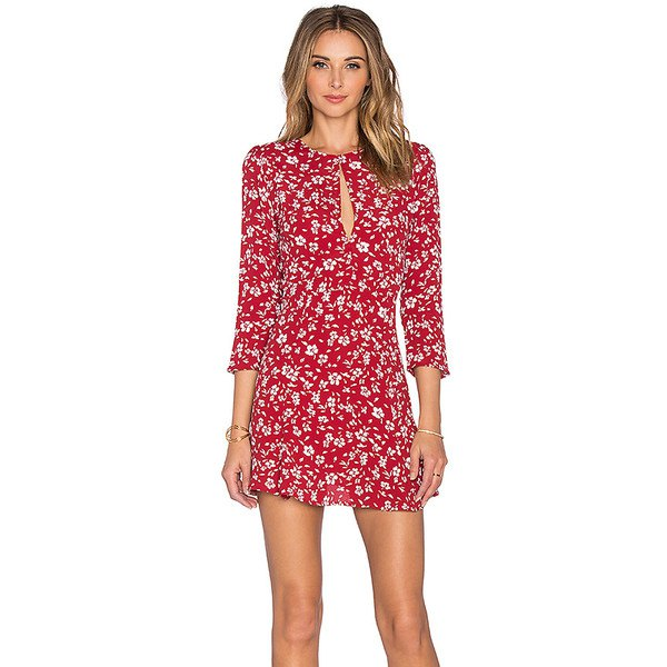 red keyhole floral mini shift dress