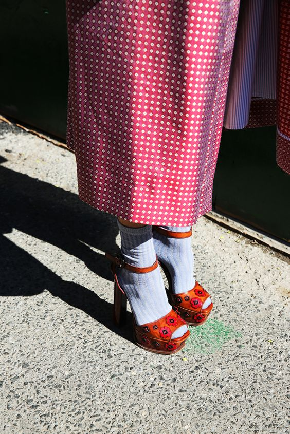 red platform heels socks sandals