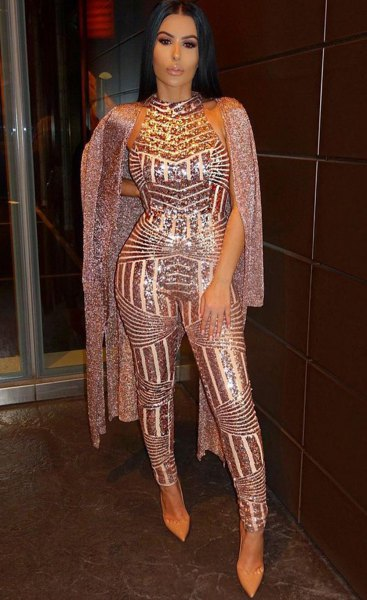 rose gold jumpsuit sparkly long cardigan