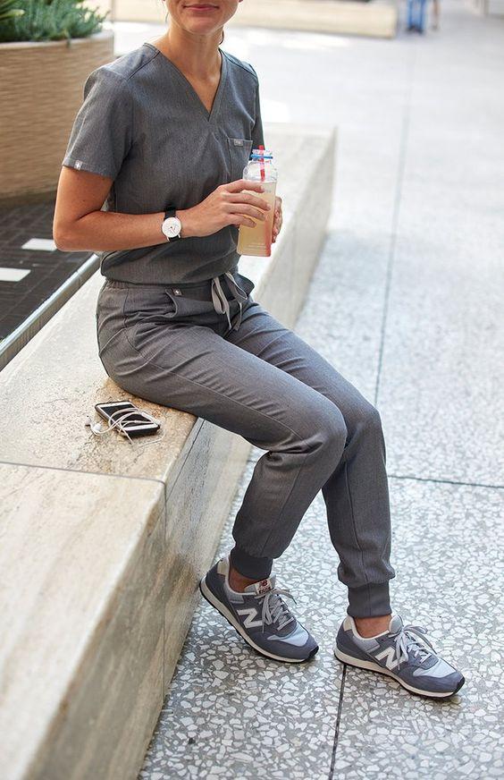 scrub pants grey
