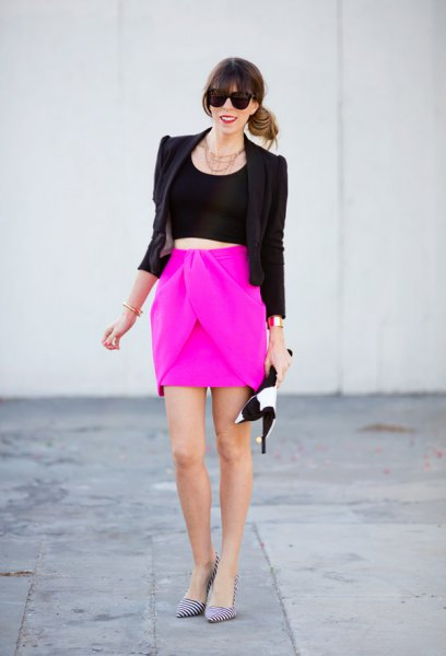shocking pink mini skirt black blazer