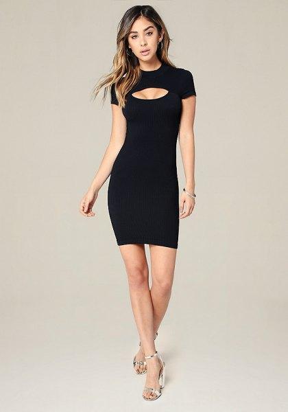 short sleeve keyhole bodycon mini dress