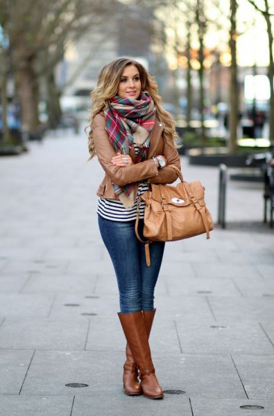 striped tee plaid scarf
