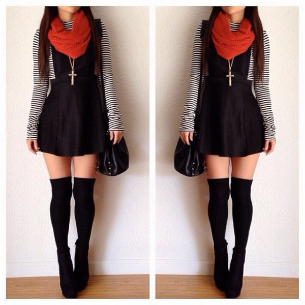 thigh high socks black overall skater