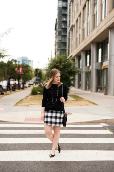 three quarter sleeve sweater black and white plaid mini skirt