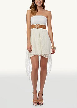 two toned white belted high low dress