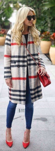white and navy plaid long wool coat