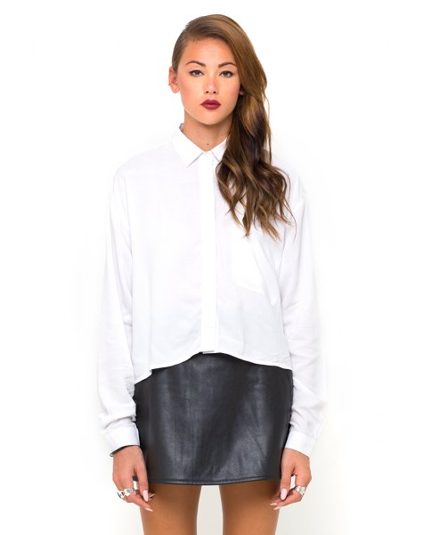 white batwing button up shirt black leather skirt