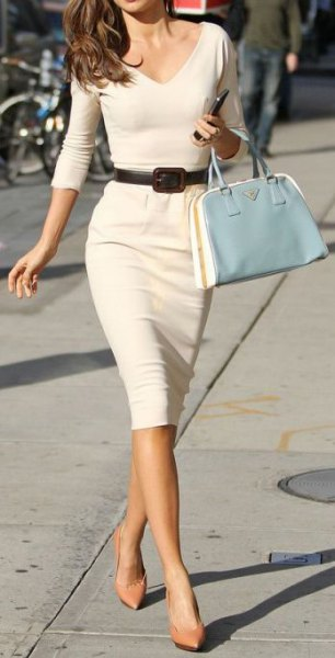 white belted bodycon midi dress pink heels