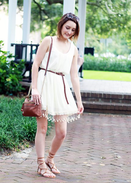 white belted skater tassel dress