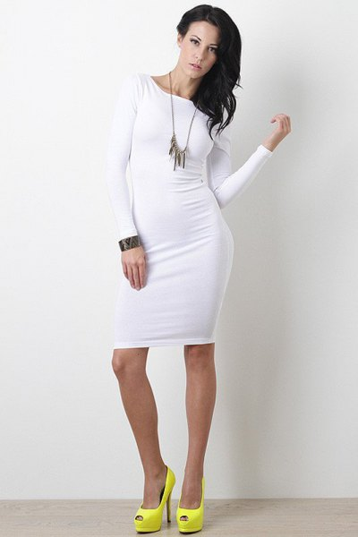 white bodycon dress yellow open toe heels