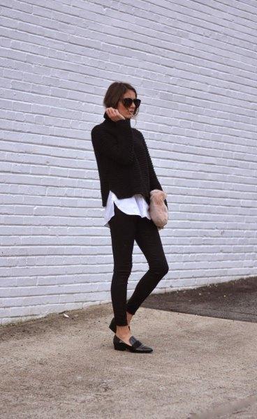 white boyfriend shirt black slim fit sweater