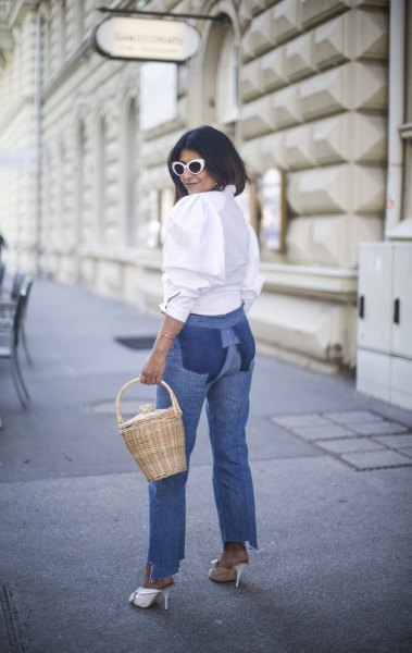 white button up blouse mom jeans