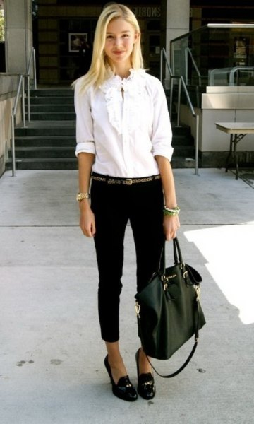 white button up shirt black cropped jeans