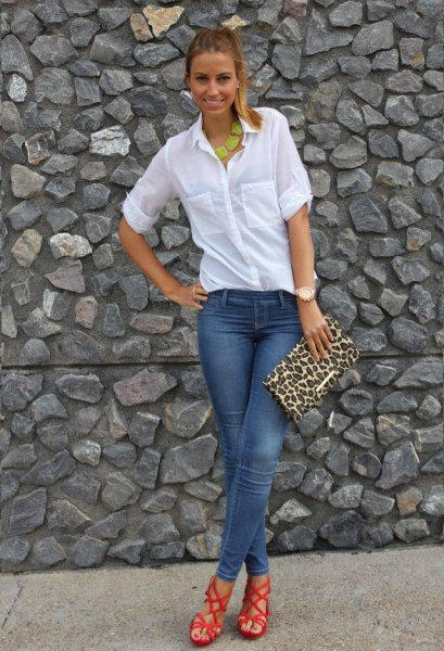 white button up shirt cheetah clutch bag