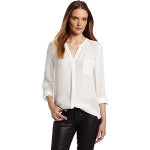 white chiffon v neck collarless shirt black leather pants