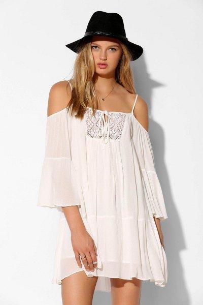 white cold shoulder boho dress felt hat