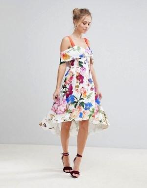 white cold shoulder midi floral dress