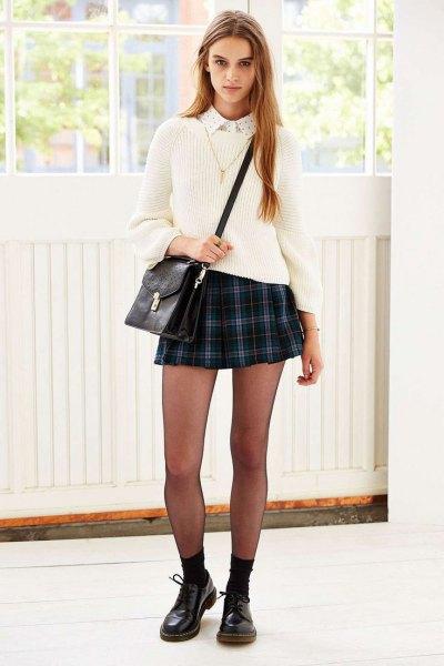 white collar shirt knit sweater