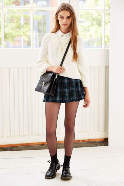 white collar shirt knit sweater