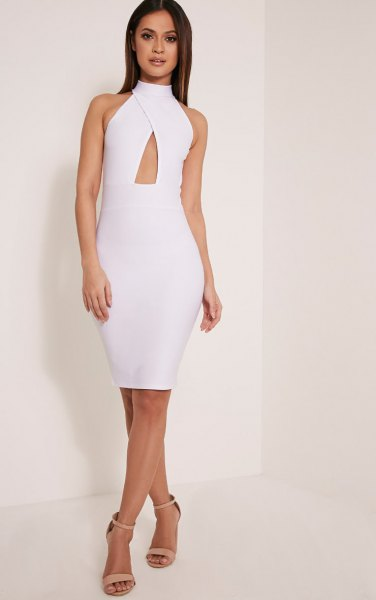 white criss cross front keyhole bodycon dress