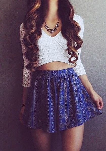 white criss cross wrap crop top floral mini skirt