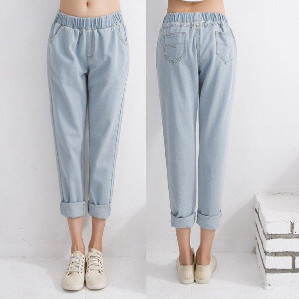 white crop top light blue cuffed elastic waist jeans
