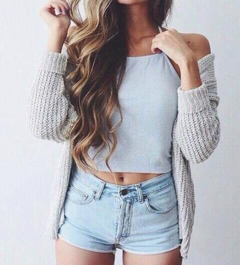 white crop top light grey knit cardigan