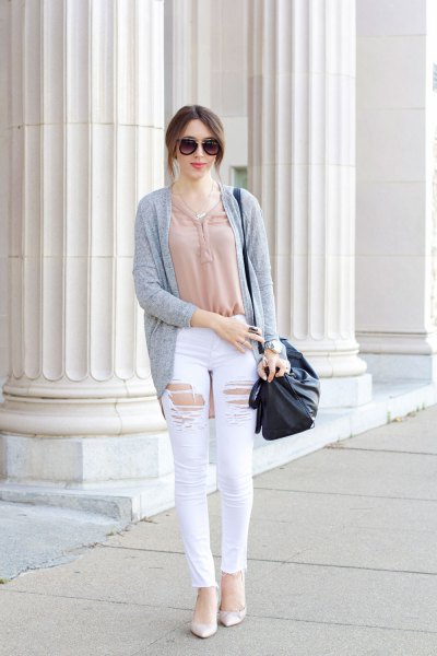 white distressed jeans pink top grey cardigan