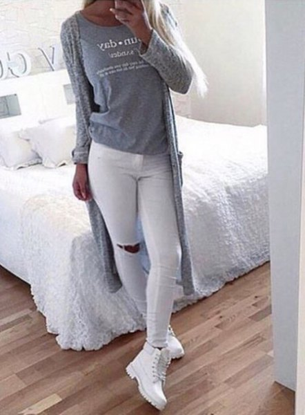 white jeans grey long knit cardigan