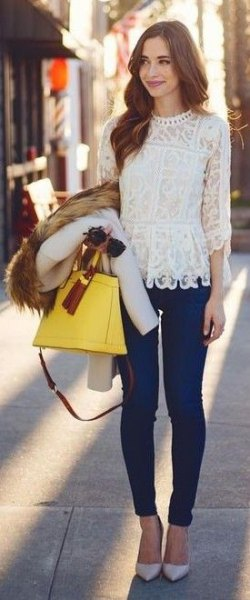white lace top dark blue skinny jeans
