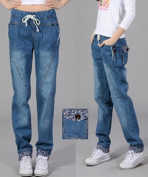 white long sleeve print tee 3d elastic waist baggy jeans